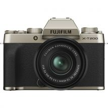 Fujifilm X-T200 15-45mm Kit Bundle Offer With 128GB Memory Card,Cleaning Kit,Tripod And Case(Champagne Gold)