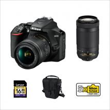 Nikon D3500 18-55mm + AF-P 70-300mm Bundle Kit With 128GB Card, Microphone,Tripod,Camera Case And Cleaning Kit
