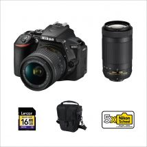 Nikon D5600 DSLR with 18-55mm + 70-300mm Bundle Offer With 128GB Card, Tripod, Microphone,Camera Bag And Cleaning Kit