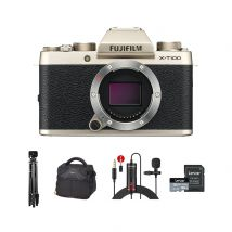 Fujifilm X-T100 Mirrorless Camera Body Only With Accessories Kit (Champagne Gold)