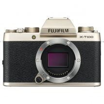 Fujifilm X-T100 Body Only Bundle With 128GB Memory Card,Tripod,Cleaning Kit And Case(Champagne Gold)