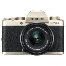 Fujifilm X-T100 15-45mm Kit Bundle With 128GB Memory Card,Tripod,Cleaning Kit And Case(Champagne Gold)