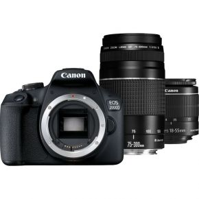 Canon EOS 2000D DSLR With 18-55 IS II And 75-300 DC III Lenses