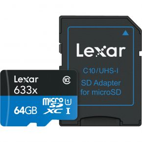 Lexar Professional Micro SD 64GB 633x Card with Adapter