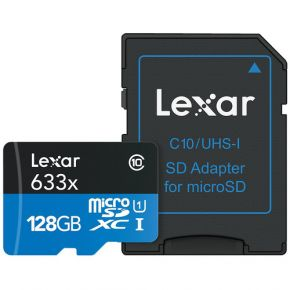 Lexar Professional Micro SD 128GB 633x Card with Adapter