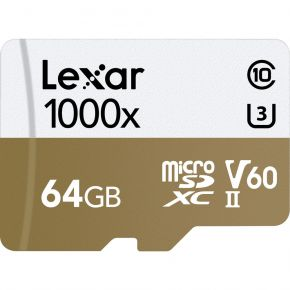 Lexar 64GB  Professional 1000x microSDHC Card with adapter