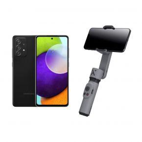 Samsung Galaxy A52 Dual SIM, 128GB 8GB RAM LTE (UAE Version), Black + Zhiyun Smooth X Grey - Gimbal