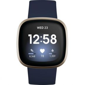 Fitbit Versa 3, Health & Fitness Smartwatch with GPS, 24/7 Heart Rate, Voice Assistant & up to 6+ Days Battery, Midnight/Soft Gold Aluminium