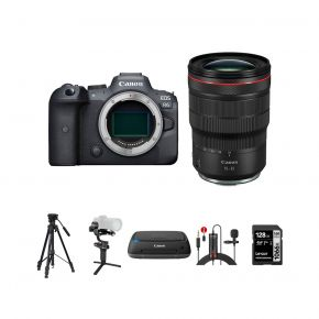 Canon EOS R6 Mirrorless Camera Body With RF 15-35mm F/2.8L IS USM Lens And Accessories Kit