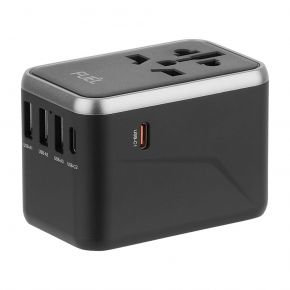 Case-Mate - Fuel World Travel Adapter - Silver/Black (CM-CM044526)