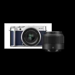 Fujifilm X-A7 15-45mm Mirrorless Camera (Navy Blue) Kit Bundle Offer with Fujinon XC35MMF2
