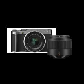 Fujifilm X-A7 15-45mm Mirrorless Camera (Dark Silver) Kit Bundle Offer with Fujinon XC35MMF2