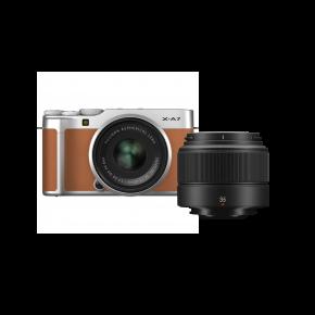Fujifilm X-A7 15-45mm Mirrorless Camera (Brown) Kit Bundle Offer With Fujinon XC35MMF2
