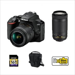 Nikon D3500 18-55mm + AF-P 70-300mm Bundle Kit With 128GB Memory Card,Cleaning Kit,Tripod And Battery