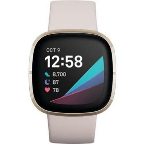 Fitbit Sense, Advanced Smartwatch with Tools for Heart Health, Stress Management & Skin Temperature Trends, Lunar White/Soft Gold Stainless Steel