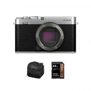 Fujifilm X-E4 Mirrorless Digital Camera Body Only with Accessories Kit (Silver)