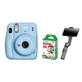 Fujifilm Instax Camera Mini 11 Blue With Film and Zhiyun Smooth X Gimbal