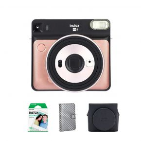 Fujifilm SQ6 Blush Gold Instax Square Camera Bundle Pack