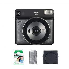 Fujifilm SQ6 Graphite Gray Instax Square Camera + Instax Square 10 Sheets Film Pack + Instax SQ6 Suade Case Instax Square Album 72
