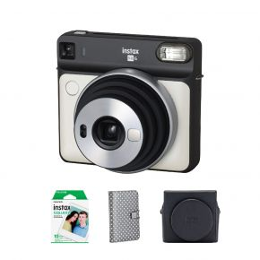 Fujifilm SQ6 Pearl White Instax Square Camera +Instax Square 10 Sheets Film Pack + Instax  SQ6 Suade Case  Instax Square Album 72