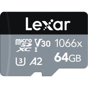 Lexar 64GB Professional 1066x UHS-I microSDXC Memory Card with SD Adapter