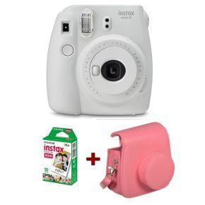Fujifilm Instax Mini 9 Smokey White + 10 Sheets Film Pack + Camera Case