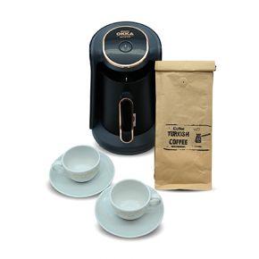 Okka Minio Black & Copper Coffee Maker With Free Turkish Coffee Powder And 2 Free Cups