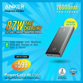 Anker PowerCore III Elite 26000mAh 87W USB-C PD Portable Charger – Black