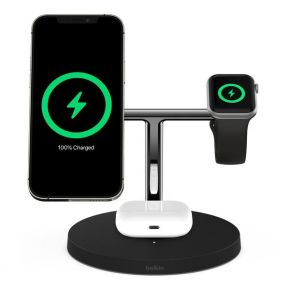 BOOSTCHARGE PRO Mag Safe 3 in 1 with 15W Wireless Charger - UK -Black