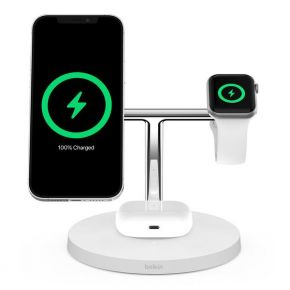 BOOSTCHARGE PRO Mag Safe 3 in 1 with 15W Wireless Charger - UK -White