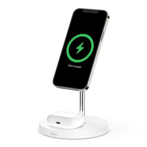 BOOSTCHARGE PRO Mag Safe 2 in 1 with 15W Wireless Charger Stand-UK-White