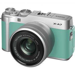 Fujifilm X-A7 15-45mm Mirrorless Camera (Mint Green) Kit Bundle Offer With 128GB Card,Tripod,Cleaning Kit And Case