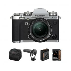 Fujifilm Digital Camera X-T3 Silver Mirrorless Camera With 18-55mm Lens And Accessories Kit