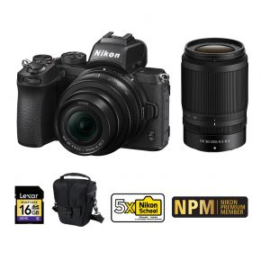 Nikon Z50 16-50mm kit With 50-250mm Bundle Pack With 128GB Card, Tripod, Microphone,Camera Case And Cleaning Kit