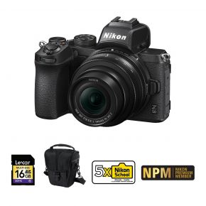 Nikon Z50 Camera With 16-50mm Bundle With 128GB Card, Tripod,Microphone,Camera Case And Cleaning Kit